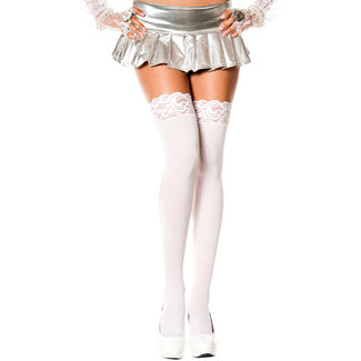 Music Legs Long Stockings With Lace Trim - White