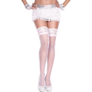 Music Legs Fine Fishnet Stockings With Lace Elastic Band - White