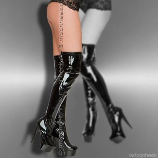 Stylish black patent platform over knee boots