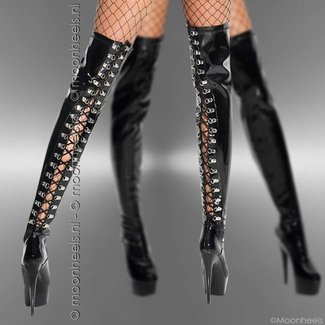 Elegant black patent over-the-knee boots with chic lace detail