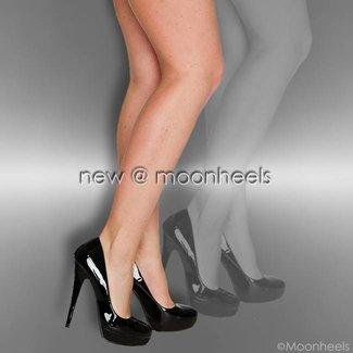 Zwarte lak high heels met plateau