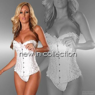 "Provocative ""Sens de Femme"" white Burlesque corset with matching thong"