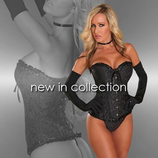 Provocative Black Burlesque corset with matching thong