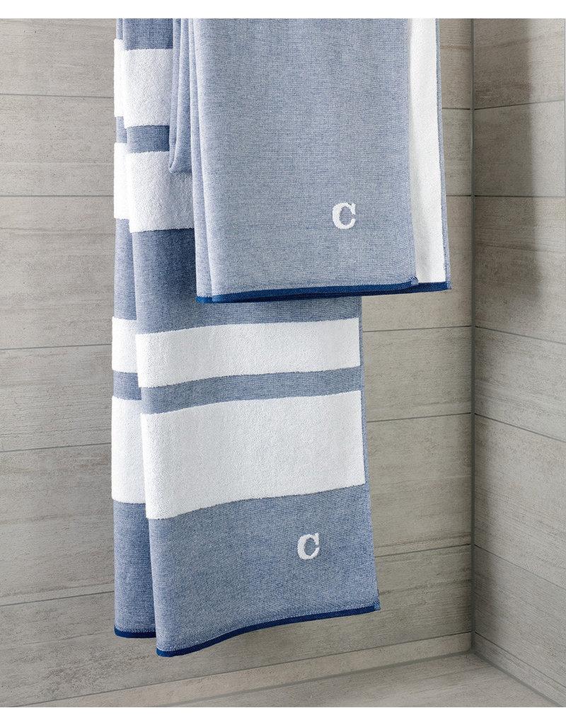 Cawö Cawo hamamdoek denim 80x200cm wit/blauw
