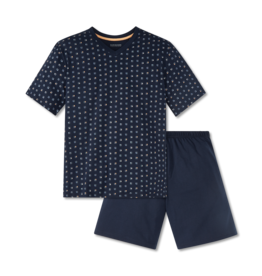 Schiesser Schiesser heren pyjama kort 166788 blauw