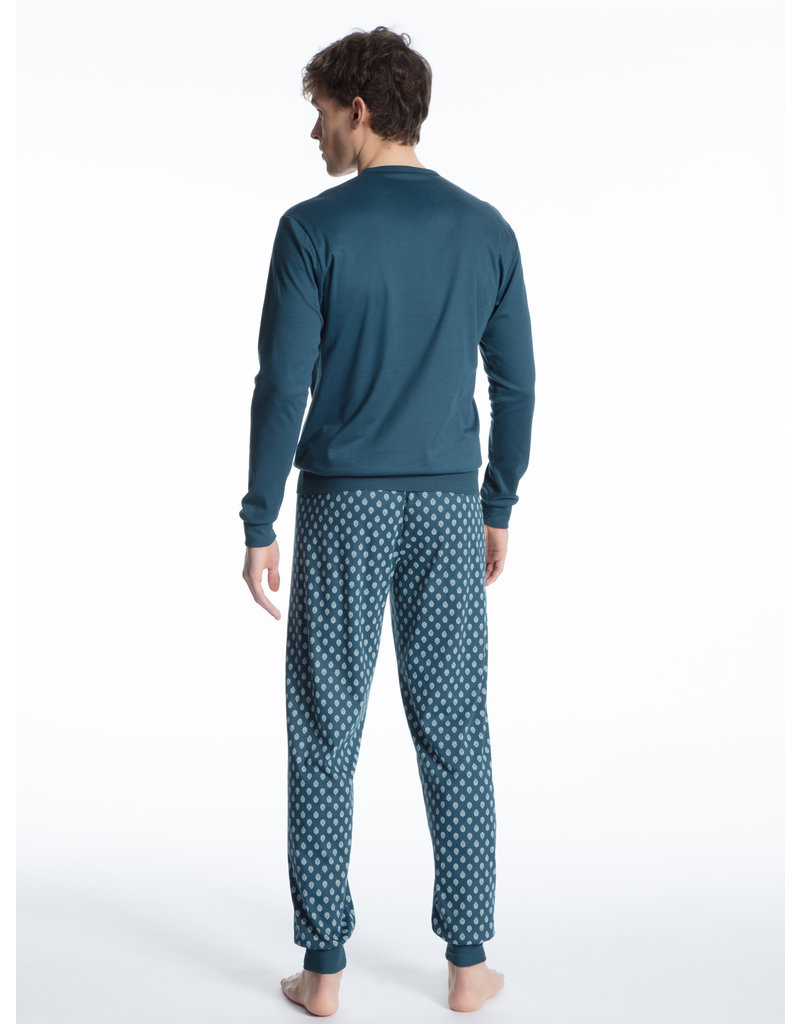 Calida herenpyjama 41780 blue wing teal with cuff