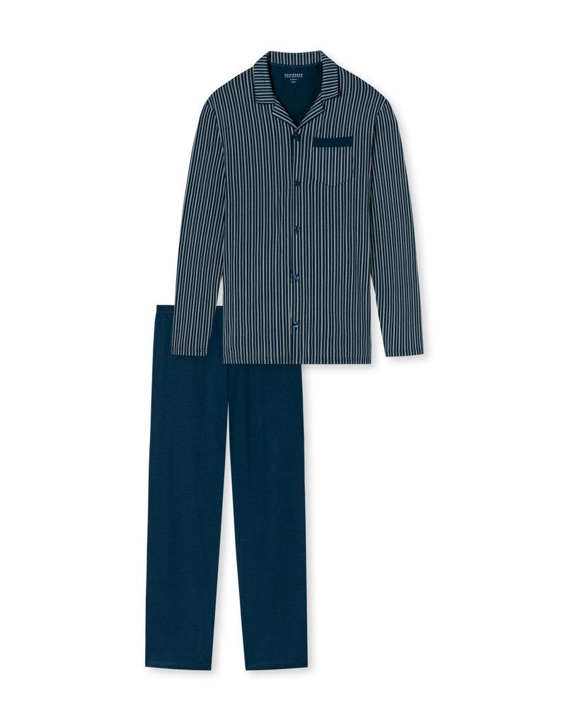 Schiesser Schiesser herenpyjama 169880 lang blauw