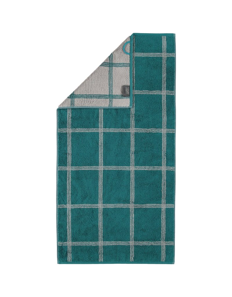 Cawö Cawo Two-Tone Grafik Handdoek  Smaragd 50x100
