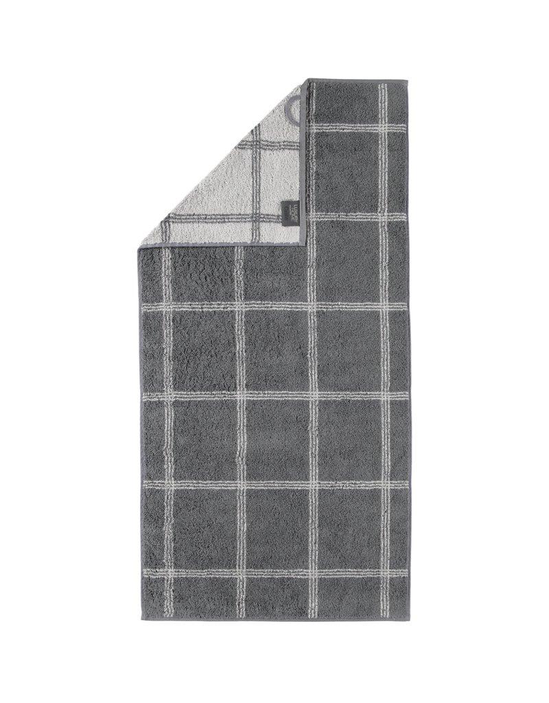 Cawö Cawo Two-Tone Grafik Handdoek  Graphit 50x100