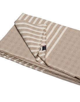 David Fussenegger plaid Mare solid with stripes 140x200 ecru