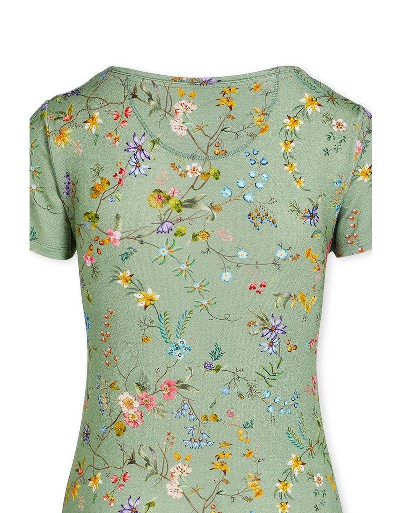 Pip Studio Pip Studio Tilly Short Sleeve Petites Fleurs Green S