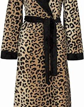 Taubert Leopard Fleece Badjas met Reverskraag
