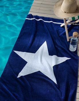 Seahorse strandlaken star blue 100x180cm