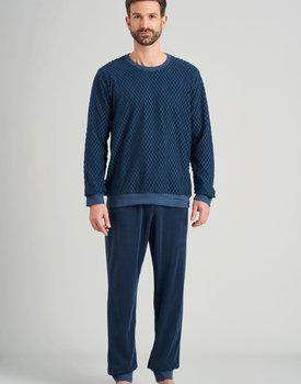 Schiesser heren pyjama lang 175603 jeansblue