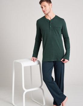Schiesser heren pyjama lang 175640 dark green