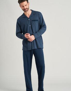 Schiesser heren pyjama lang 175646 jeansblauw