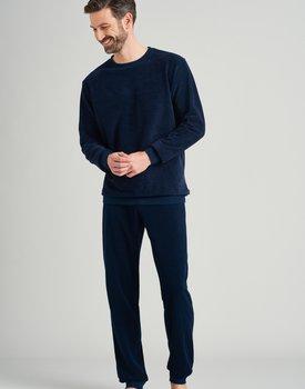 Schiesser heren pyjama lang 175605 nachtblauw