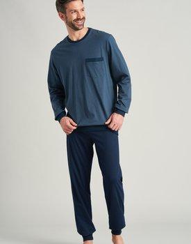Schiesser heren pyjama lang 175645 jeansblauw