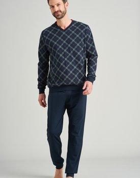 Schiesser heren pyjama lang 175755 blauw/zwart