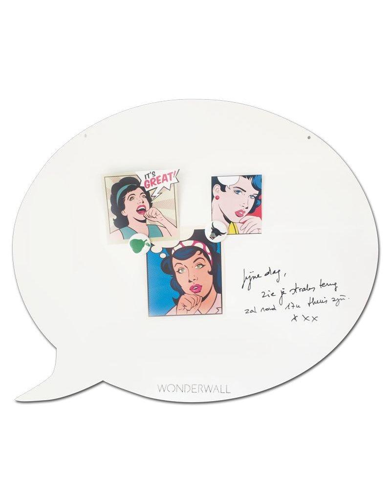FAB5 Wonderwall magneetbord én whiteboard tekstballon beschrijfbaar en magnetisch 67 x 80 cm