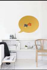 Wonderwall    Magneetbord tekstballon zwart 50 x 60 cm  zandgeel