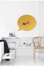 FAB5 Wonderwall    Magneetbord tekstballon zwart 67 x 80 cm  zandgeel