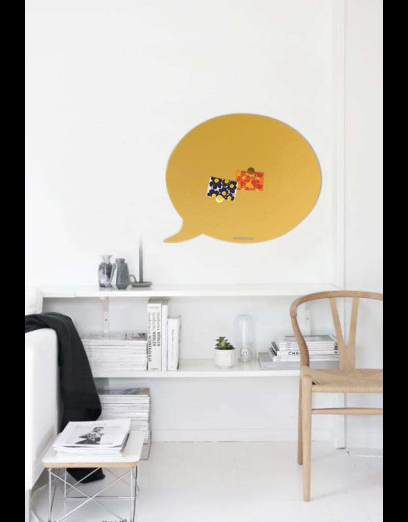FAB5 Wonderwall Tableau magnetic Noir bulle- 67 x 80 cm jaune sablé