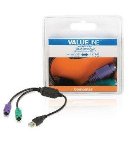 Valueline USB 2.0 Kabel USB A Male - 2x PS/2 Female 0.30 m Zwart