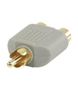 Bandridge Stereo-Audio-Adapter RCA Male - 2x RCA Female Grijs