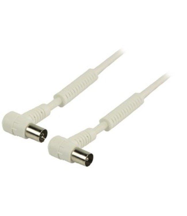Valueline 120 dB Coaxkabel Haaks Coax Male (IEC) - Coax Female (IEC) 10.0 m Wit