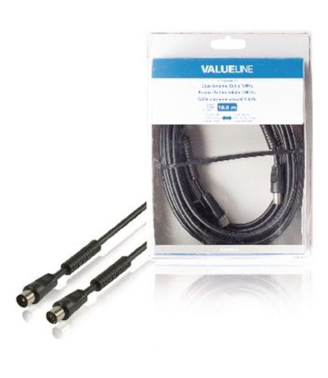 Valueline 100 dB Coaxkabel Coax Male (IEC) - Coax Female (IEC) 10.0 m Zwart