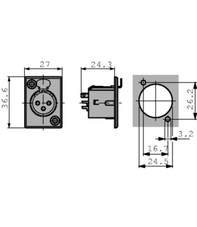 Neutrik XLR Panel-mount female receptacle 5 N/A P soldeer connectie Vernikkeld