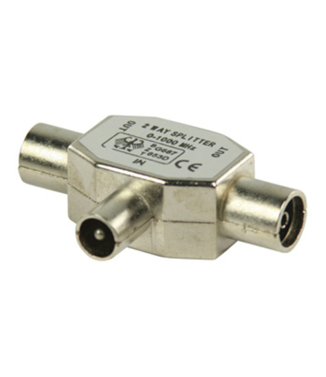 Valueline Coax-Adapter Coax Male (IEC) - 2x Coaxconnector Female (IEC) Zilver