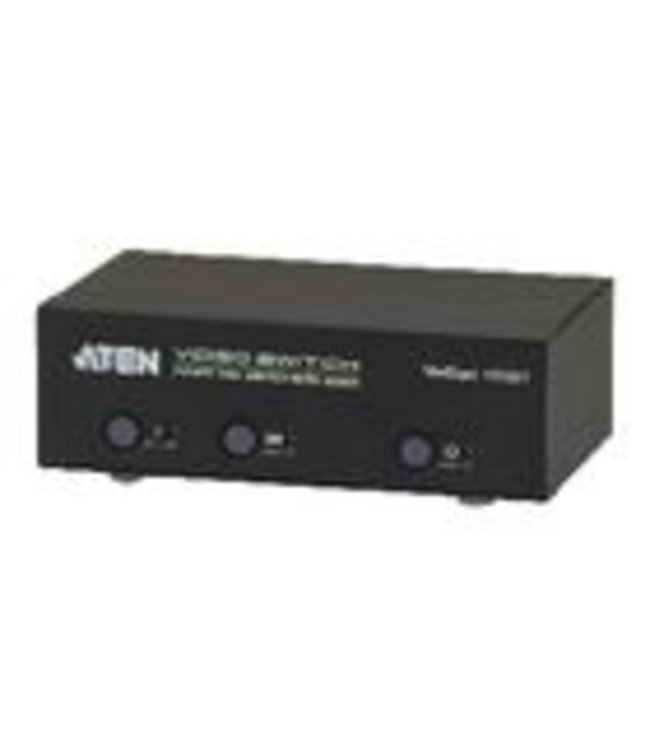 Aten The VS0201 2-Port VGA Switch with Audio allows you to connect two audio/video source computers to a single monitor or projector with full audio and quickly switch between the devices for use.<br /><br />VS0201 built-in bi-directional RS-232 serial port fo