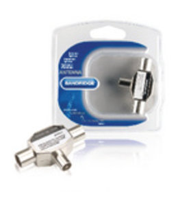 Bandridge Coax-Adapter Coax Male (IEC) - 2x Coaxconnector Female (IEC) Zilver