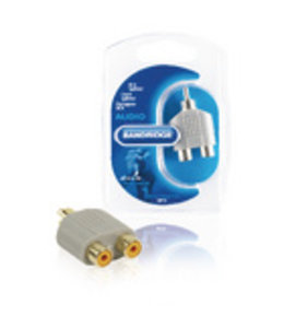 Bandridge Stereo-Audio-Adapter RCA Male - 2x RCA Female Grijs