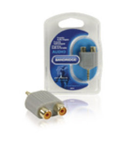Bandridge Stereo-Audio-Adapter 3.5 mm Male - 2x RCA Female Grijs