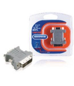 Bandridge DVI-Adapter DVI-A 12+5-Pins Male - VGA Female 15-Pins Grijs