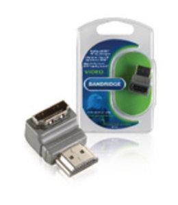 Bandridge High Speed HDMI met Ethernet Adapter 90° Haaks HDMI-Connector - HDMI Female Grijs