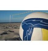 Beachvolley net, voorzien van fiberstokken en spanlijnen