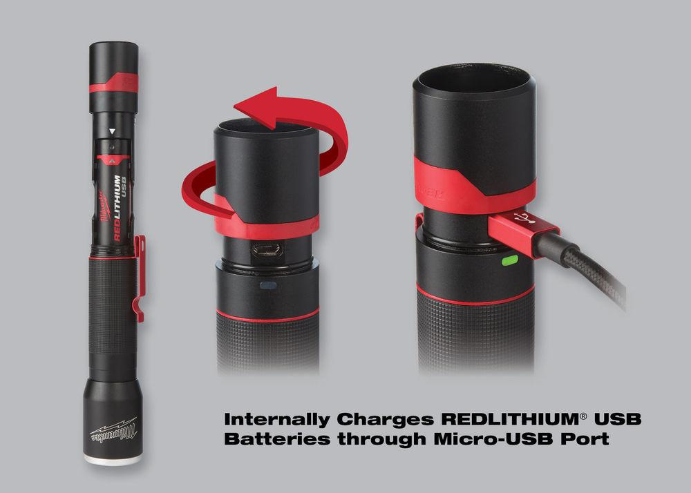 L4MLED-201 USB oplaadbare compacte zaklamp