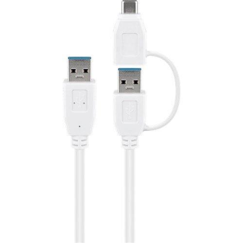USB 3.0 Kabel mit 1 USB A auf USB-C™-Adapter, weiß<br>USB 3.0-Stecker (Typ A) > USB-C™-Stecker