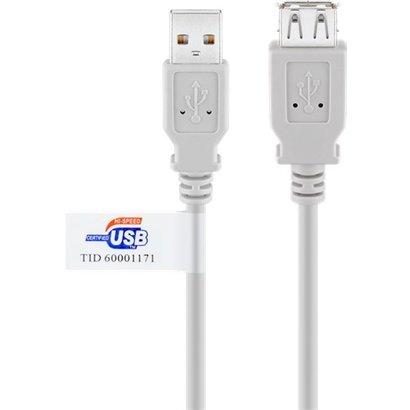 USB 2.0 Hi-Speed Verlängerungskabel mit USB Zertifikat, Grau<br>USB 2.0-Stecker (Typ A) > USB 2.0-Buchse (Typ A)