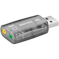 USB 2.0 Soundkarte<br>zum Anschluss von Mikrofonen und Lautsprechern mit 3,5 mm Klinkenstecker an den PC