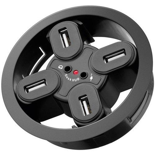 4-fach USB 2.0 Hi-Speed Einbau-HUB/Verteiler + Audio<br>zum Einbau in 80 mm Tischdurchführungen mit Audio Anschluss