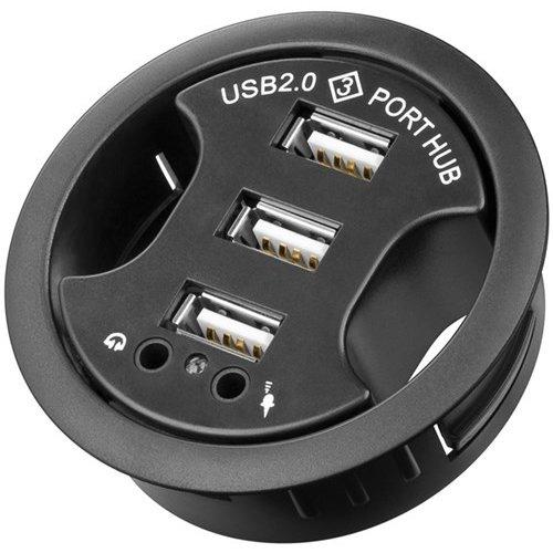 3-fach USB 2.0 Hi-Speed Einbau-HUB/Verteiler + Audio<br>zum Einbau in 60 mm Tischdurchführungen mit Audio-Anschluss
