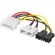 PC Lüfter Stromkabel/Stromadapter, 5.25 Stecker zu Lüfter 2x 12 V/2x 5 V<br>4-pol. > 2x 2-pol. 12 V +  2x 2-pol. 5 V