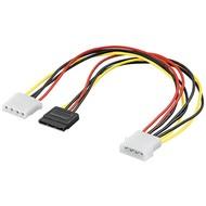 PC Y Stromkabel/Stromadapter 5.25, 1x Stecker zu 1x SATA Stecker und 1x Buchse 5.25<br>SATA Standard Stecker > HDD/5,25 Zoll-Stecker (4-Pin) + HDD/5,25 Zoll-Buchse (4-Pin)