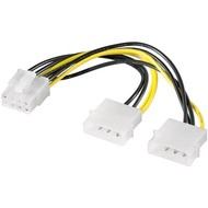 PC Grafikkarten Stromkabel/Stromadapter, PCI-E zu PCI Express 8 Pin<br>2x HDD/5,25 Zoll-Stecker (4-Pin) > PCIe-Buchse (8-Pin)