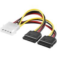 PC Y Stromkabel/Stromadapter, 5.25 Stecker zu 2x SATA<br>HDD/5,25 Zoll-Stecker (4-Pin) > 2x SATA-Standard Stecker